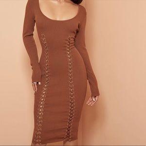 Naked Wardrobe lace up ribbed knit dress